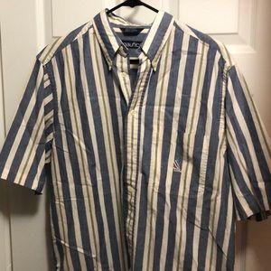 Vintage nautical short sleeve button up chambray